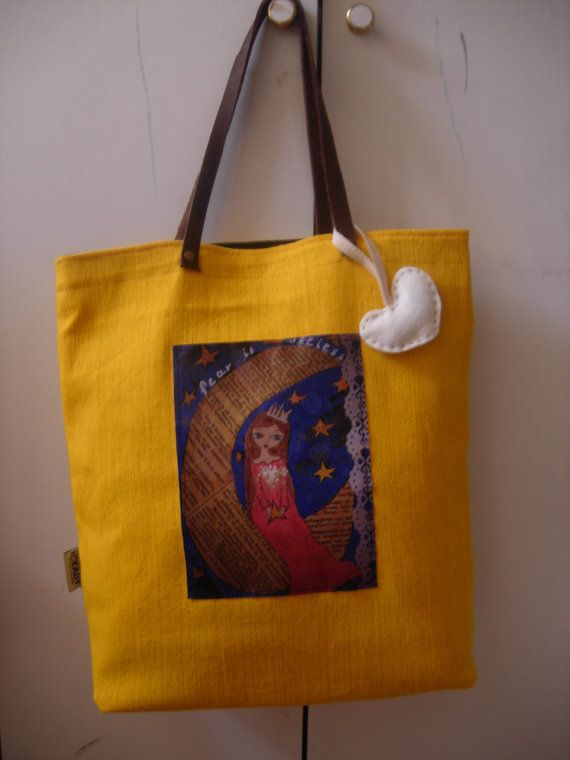 Fear is Useless art bag in sunny yellow and a by eltsamp on Etsy, $58.00