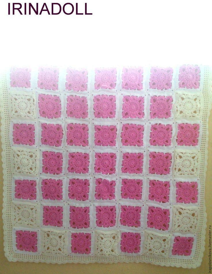 Купить Плед для новорожденного. - розовый, в клеточку, белый, зефирный, бледно-розовый, для детей, для новорожденного