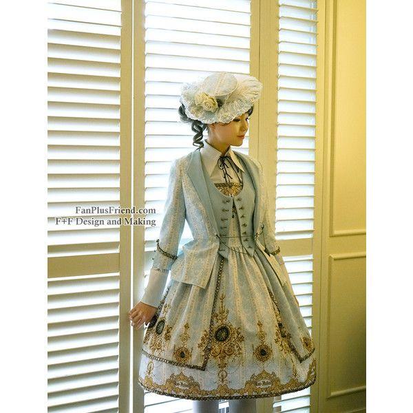 Gothic Lolita Fashion Dress Tuxedo Ball Dress*black,mint,burgundy,moon... ❤ liked on Polyvore featuring mint tuxedo, plus size womens tuxedo suit, plus size womens tuxedo, tuxedo suit and blue tuxedo