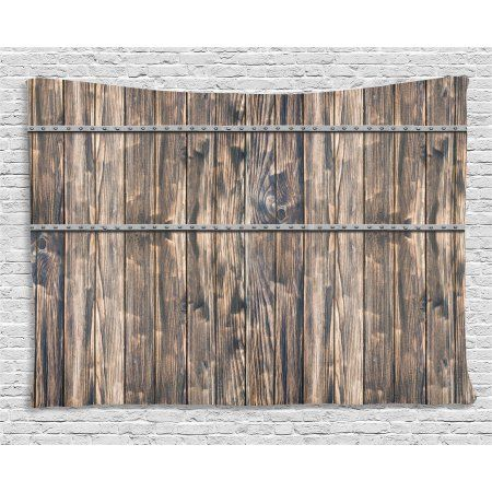 Wooden Decor Tapestry, Rustic Wooden Long Farmhouse Themed Planks with Screws and Lines Art, Wall Hanging for Bedroom Living Room Dorm Decor, 80W X 60L Inches, Brown and Grey , by Ambesonne