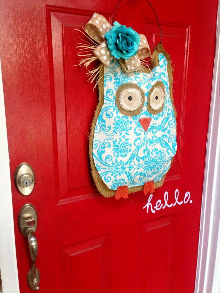 Owl Door Decor inspired from another Pinterest pin. It was actually an easy make. 1 hour DIY