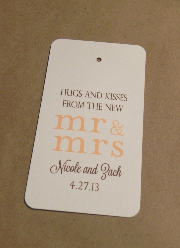 wedding favor tag hang tag mr and mrs hugs and kisses sweets