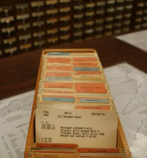 library cards - gone with the wind.  Our local library had these up until a few years ago.