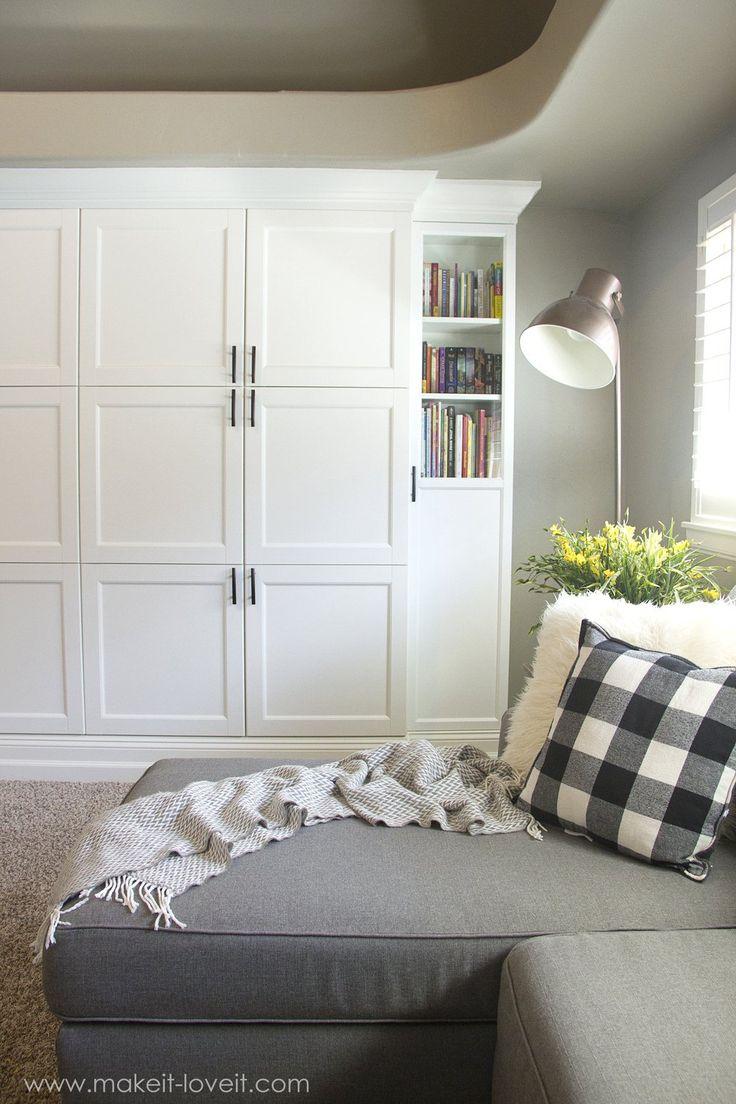 How to Turn IKEA Bookshelves into CUSTOM BUILT-INS | via www.makeit-loveit.com