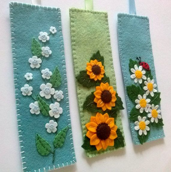 Felt flower bookmark forget me not bookmark unique от DusiCrafts