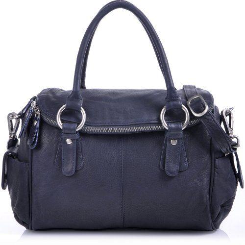 MASQUENADA, Cntmp, Damen Leder Henkeltaschen, Handtaschen, Boltbags, Dunkelblau, Blau-Schwarz 29x23x10cm (B x H x T)