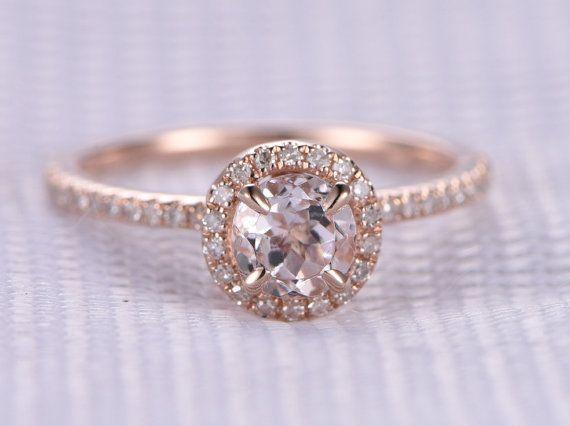 Rose morganite bague de fiançailles, 14 k or Rose, Pierre de gemme de coupe ronde de 5mm, diamant bague de mariage, Art Deco Antique, personnalisé pour lui/elle, sur mesure