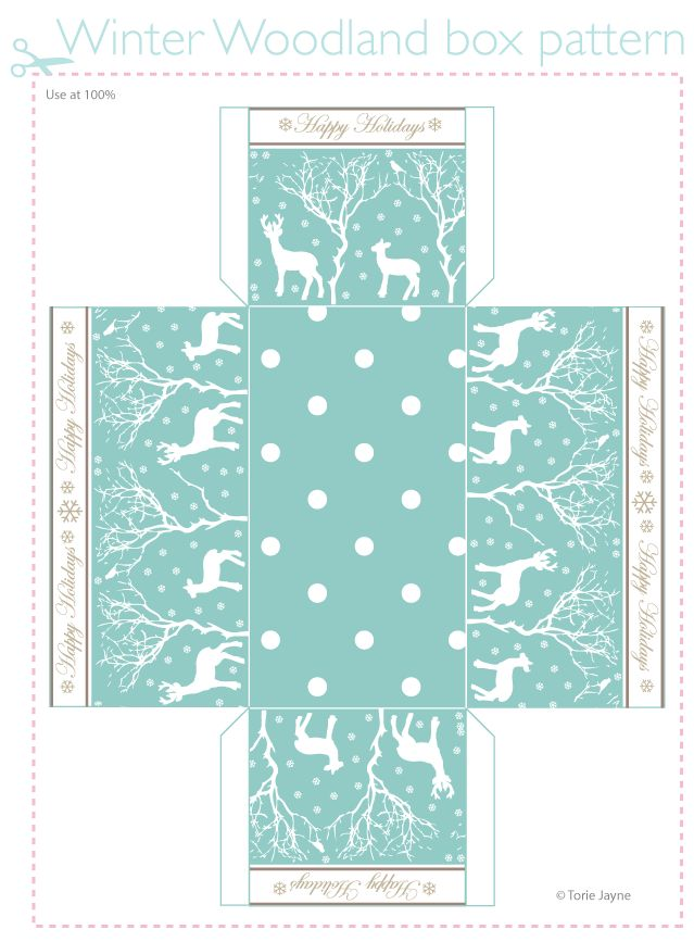 Winter Woodland box pattern free download from Torie Jayne