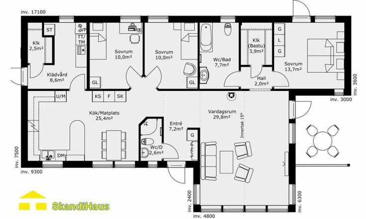 Grundriss Bungalow Xxl : Schwedenhaus SkandiHaus 1geschossig 122 Grundriss 1234