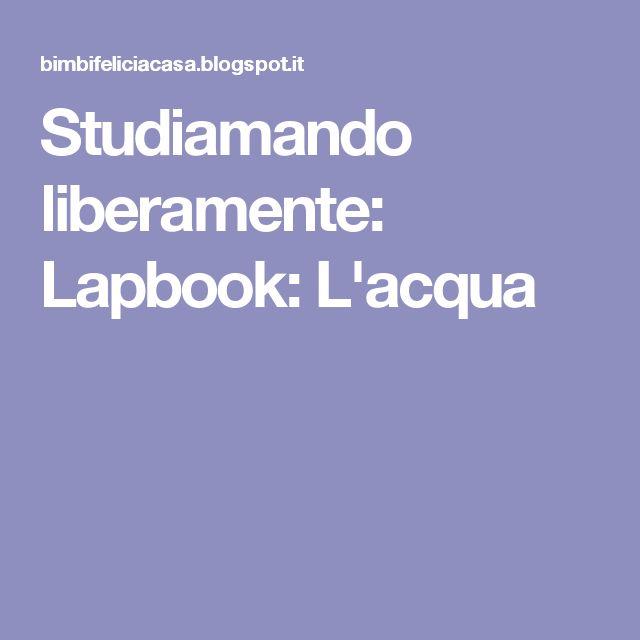 Studiamando liberamente: Lapbook: L'acqua