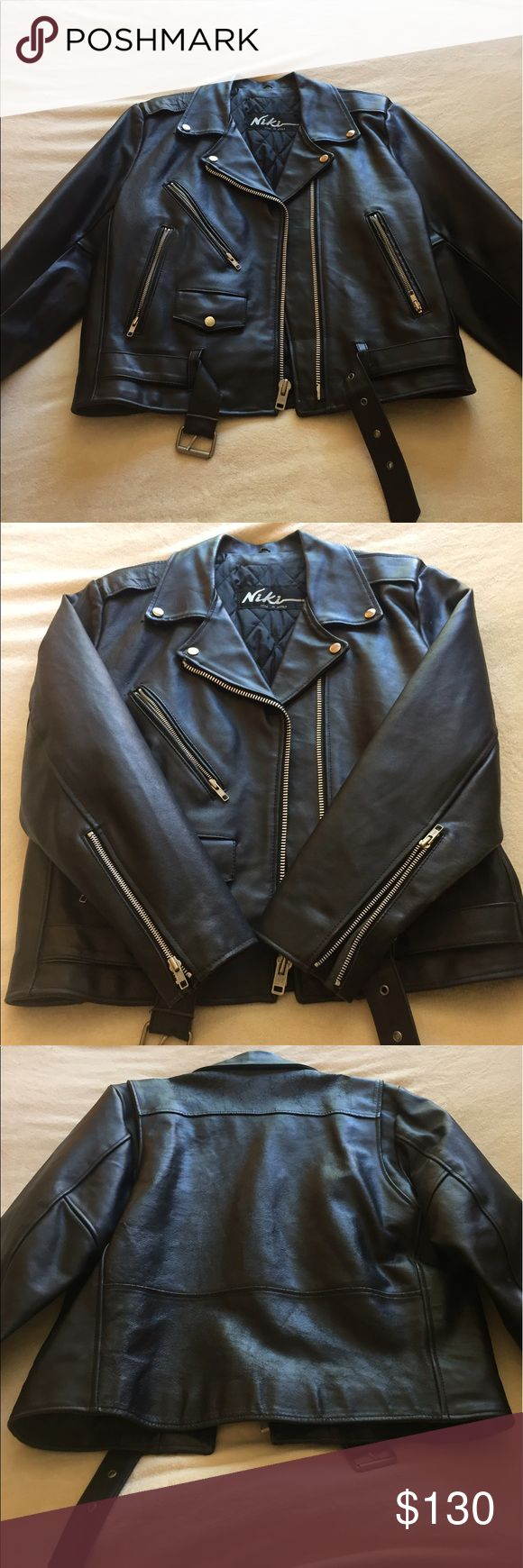 Vintage NIKI Leather Motorcycle Jacket Vintage leather NIKI men's motorcycle jacket in size Large I believe. Sorry tags don't specify size. Can take measurements upon request. Some signs of wear at the cuffs as well as the back collar area as shown in the photos. Small circular hole by lapel as well. All in all it is still a fantastic Jacket and collectors dream. Asking $130 or best offer. Niki Jackets & Coats Performance Jackets
