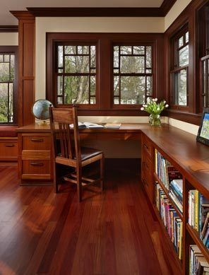 Prairie style home office keeps its character.   Prairie-style house on Seattle's Queen Anne Hill, note the main elements of the facade kept the home's character while opening up interior spaces. One key wall was removed to connect dining room and kitchen, while two porches were redone to enhance a master bedroom and the living room below it.