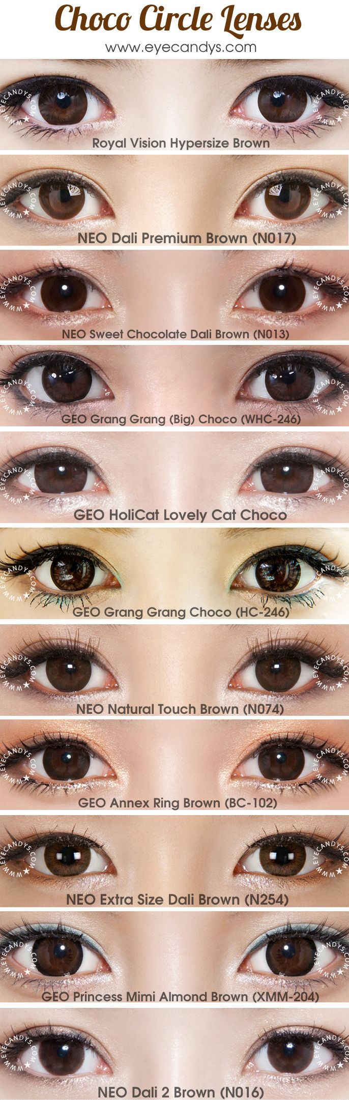 Choco colored prescription/plano colored contacts (doll eye circle lenses). FREE Shipping Worldwide! SHOP >> http://www.eyecandys.com/brown/hazel/