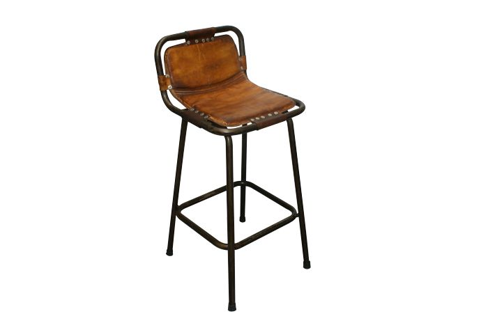 Taburete Rive Strool, taburete alto en piel para barra de bar