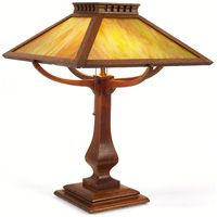 Arts and Crafts Table Lamp, four-sided slag glass shade on an oak base