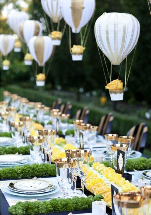 We were wondering how our Paper Balloons were used!  Our Wedding Favors must be tucked on a table somewhere!