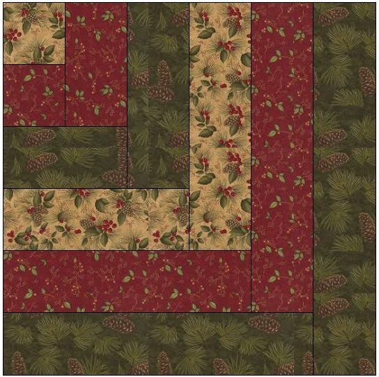 Modified Log Cabin Quilt Block  Pattern by QuiltBlocksByAutumn