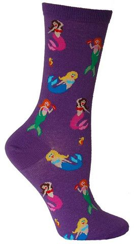 purple socks with mermaids