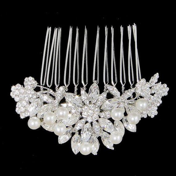 $21.99 Vintage Inspired Swarovski Crystal, Bridal Flower Hair Accessories, Wedding Pearl Hair Comb, Clear Rhinestone Bridesmaid Gifts-118728548