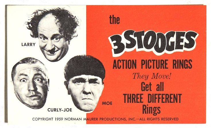 S085. THE 3 STOOGES Action Picture Rings Vending Machine Ad Piece (1959) ~~ | eBay