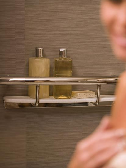 This stylish and safe grab bar is masquerading as a shower shelf! #halloweenbathroom