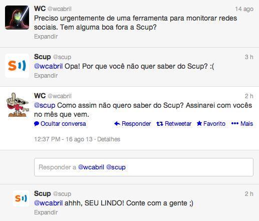 Este é um exemplo de excesso no trato com a comunicação no SAC 2.0 da Scup. Fail!