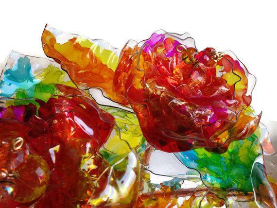 Fiori colorati, moderni Home Decor, riciclato arte, composizione floreale plastica, Set di 3, centrotavola matrimonio colorato, unico Home Decor