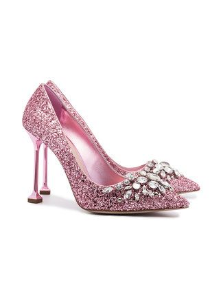 c28f3879634 Miu Miu Pink Glitter Swarovski 105 pumps  weddingshoes  glitter  pink  heels   shoesday