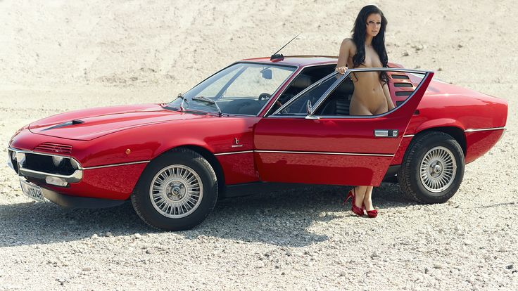 Vintage Classic Cars and Girls: Alfa Romeo Montreal and Ukrainian met art girl.