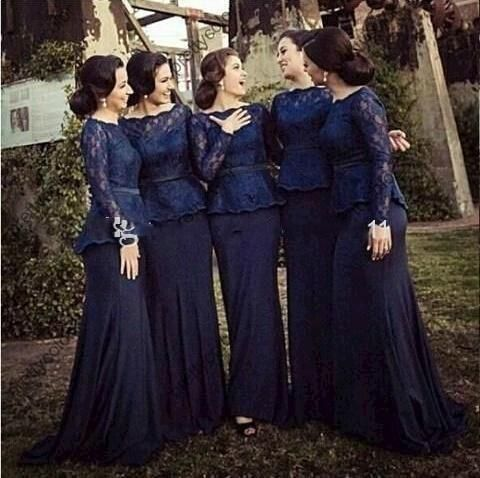 Free shipping, $107.86/Piece:buy wholesale  2015 Hot Sale Navy Blue Long Bridesmaid Dresses Mermaid Sheer Bateau Custom Made long lace Women Dress With sleeves evening prom gowns of 2015 Fall Winter,Reference Images,Elastic Satin,Spring,Under $100 from DHgate.com, get worldwide delivery and buyer protection service.