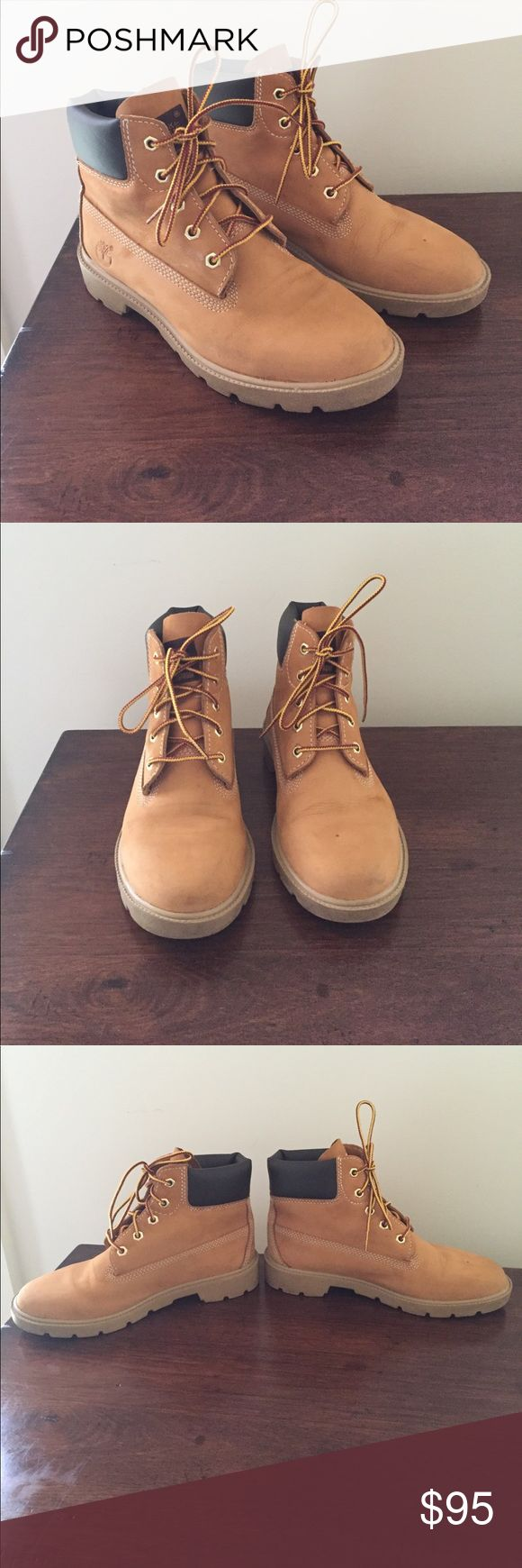 Timberland boots Real Timberland boots. Waterproof boots in great shape. Interior, exterior, laces, and sole all in great shape, worn in but no where near worn out! Some creasing by toe but can't be seen unless looking for it. Boys size 4 Timberland Shoes