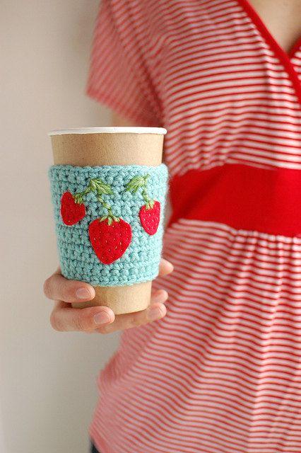 Coffee cozy  Aqua  with Strawberries by The Cozy by thecozyproject,Anna Knits, Cups Cozy, Crochet Cozy, Pretty Genius, Cozy Projects, Coffee Cups, Cozy Aqua, 426 640 Pixel, Coffee Cozy