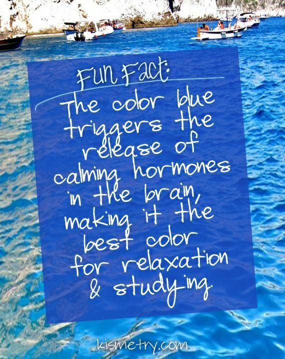 Fun Fact: the color blue is the most relaxing color...