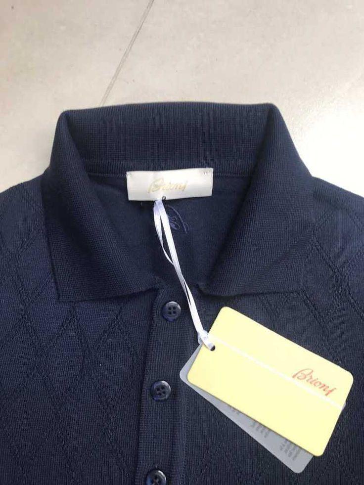 Brioni Short Sleeve Men Knitwear Tshirt Polo New Button Collar Dark Blue Size S #Brioni #MoistureManeger