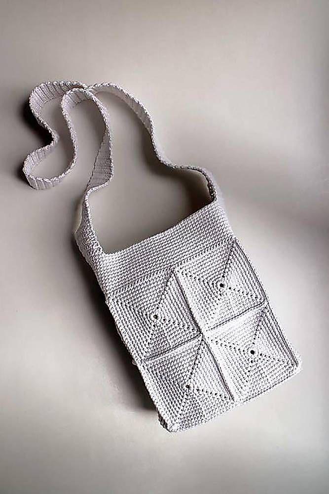 Kabelky - Háčkovaná kabelka   Taška   Biela malá crossbody - 6897383_