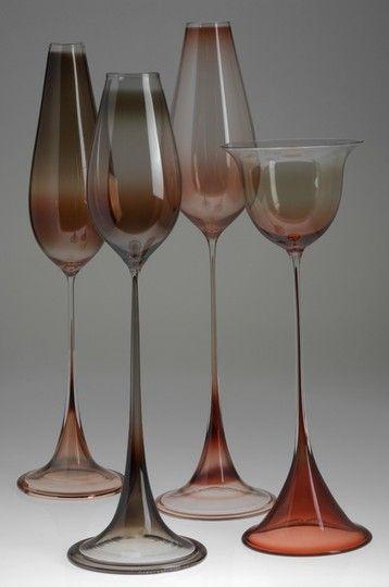 Nils Landberg; Glass 'Tulip' Vases for Orrefors, 1950s.