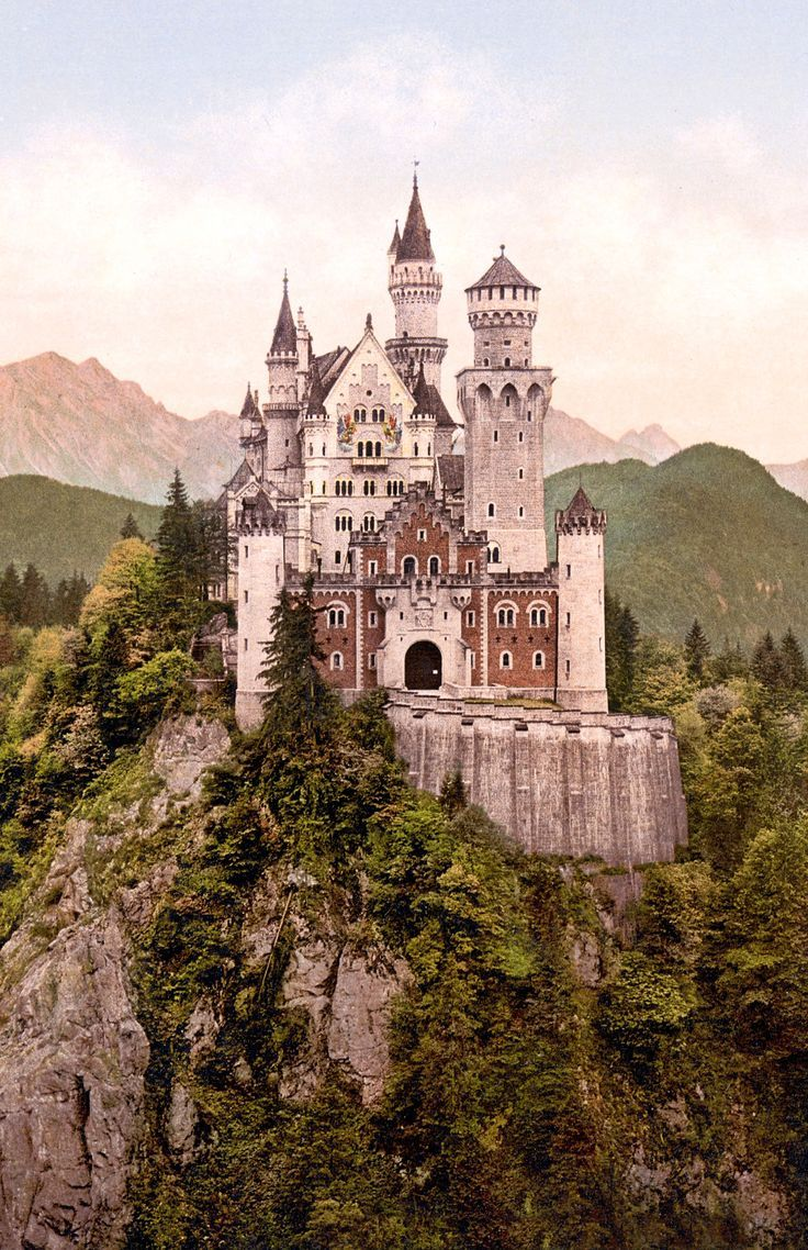 Neuschwanstein Castle In Bavaria Germany And Taken Sometime Between 1890 And 1905ad Just A Few Years Neuschwanstein Castle Germany Castles Beautiful Castles