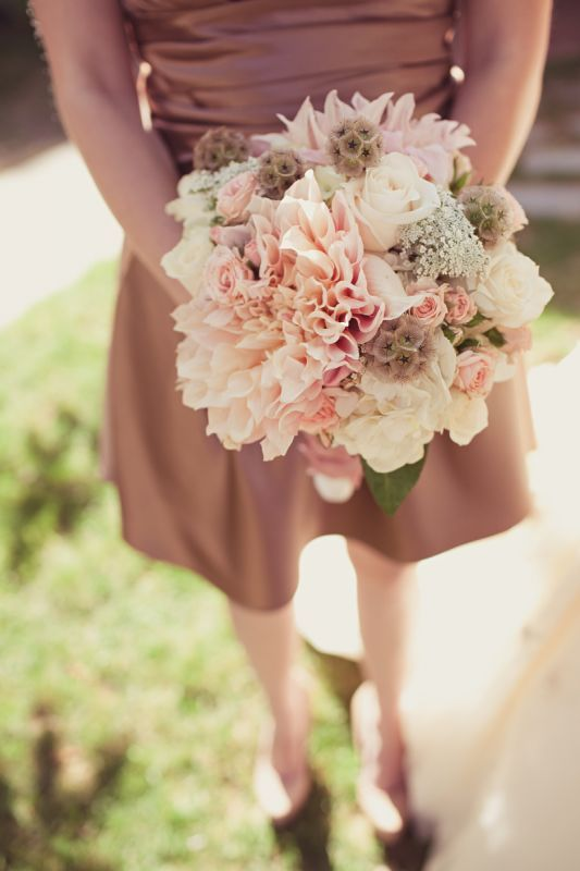 add a white hydrangea or two - soft pink Dahlia Cafe au Lait; pink ranunculus; light pink lisianthus;