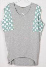 Polka Dot Printed Green and Grey Batwing T-Shirt $31.84