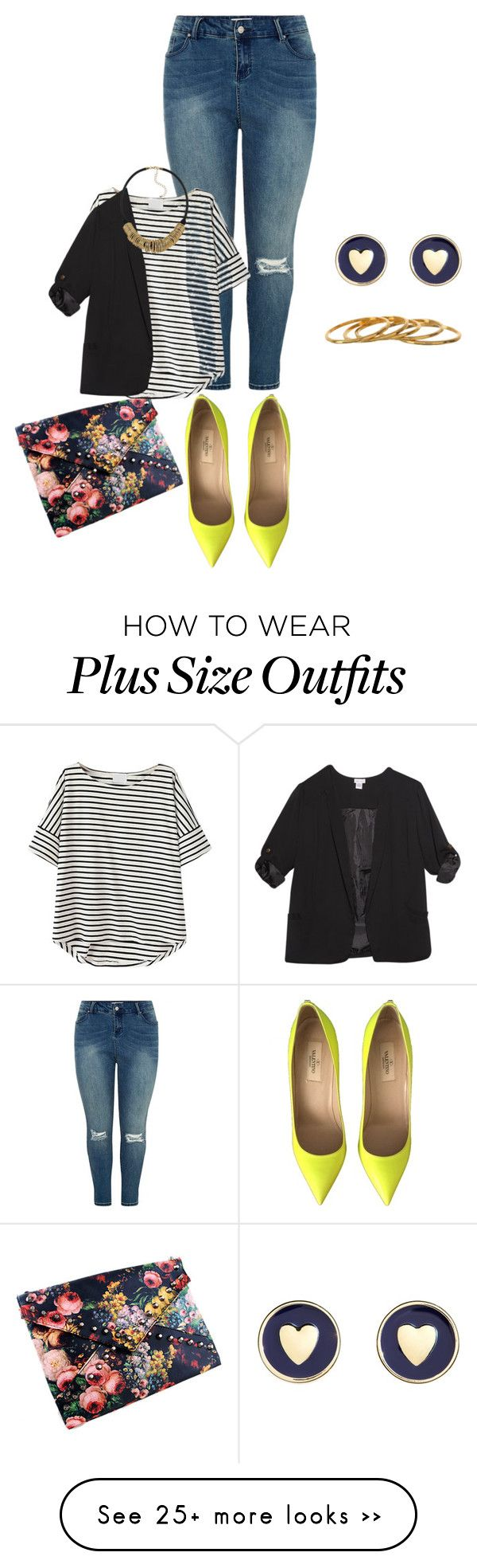 """plus size simple and cute night out"" by kristie-payne on Polyvore featuring Valentino, Wet Seal, Brooks Brothers, Sam Edelman and Gorjana"