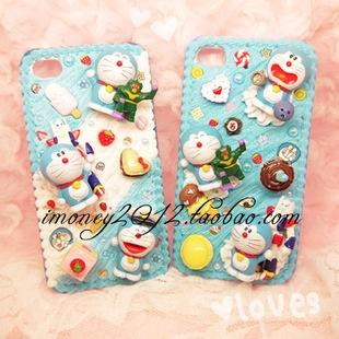 Doraemon cream deco phone case