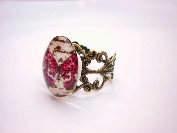 Vintage style butterfly ring, available to buy at www.facebook.com/dreambirddesigns