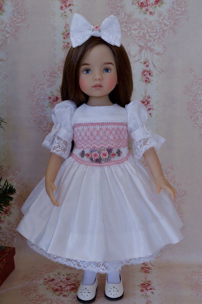 "OOAK Silk Smocked Dress Ensemble for Effner 13"" Little Darlings Dolls"