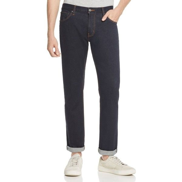Michael Kors Slim Fit Selvedge Jeans in Dark Rinse - 100% Exclusive ($148) ❤ liked on Polyvore featuring men's fashion, men's clothing, men's jeans, rinse, michael kors mens jeans, mens cuffed jeans, mens stretchy jeans, mens dark wash jeans and mens slim cut jeans