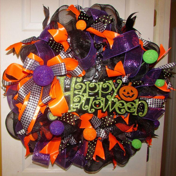"Awesome Happy Halloween Deco Mesh Door Wreath 27"" Decoration Black Orange Purple by LauriesWorldDesigns on Etsy"