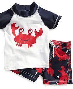 Carter's Baby Set, Baby Boys Crab Newborn Rash Guard and Swim Shorts - Kids Baby Boy (0-24 months) Retail:$15 Wee Blessing:$9 #RashGuards #babyboyshorts