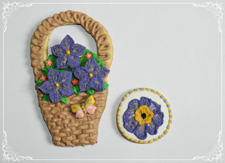 Basket with flowers cookiefied :)  Forget-me-not cookies