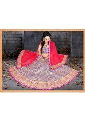 Designer royel blue And rani pedding Net Wedding Lehenga Sarees by Vendorvilla