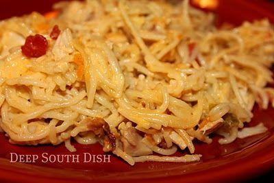 Chicken and spaghetti casserole. Can use rotisserie chicken