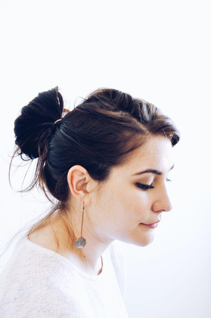 Labradorite and copper drop earrings